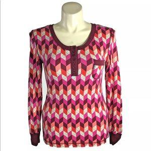 New Vera Bradley Large Top Pink Geo Lounge Shirt